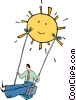 Vector Clip Art graphic  of a swings