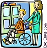 Vector Clipart graphic  of a patient in a wheel chair