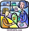 Vector Clip Art image  of a Woman buying medication