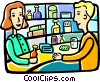 Man buying medication at the store Vector Clip Art picture