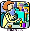 Doctor with a microscope Vector Clipart illustration