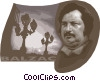Honore de Balzac, French realist writer Vector Clip Art image
