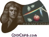 Sir Isaac Newton (1642 - 1727), gravity, optics Vector Clipart illustration