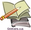 Vector Clip Art image  of a pencil and notebook