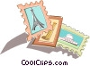 postage stamps of famous land marks Vector Clipart graphic