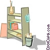 Vector Clip Art image  of a shelving unit