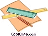 ruler, pencil, paper Vector Clipart picture