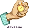 Vector Clipart graphic  of a hand holding a stopwatch