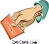 hand holding a piece of paper Vector Clip Art image