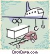 aircraft with baggage truck Vector Clipart graphic