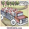 Vector Clipart image  of a truck with produce