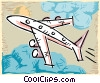 Vector Clip Art graphic  of a Commercial jet