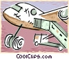 Vector Clipart picture  of an airplane at the airport