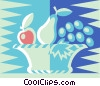 bowl of fruit Vector Clipart graphic