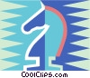 Vector Clip Art graphic  of a knight chess piece