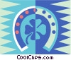Vector Clip Art picture  of a horseshoe and four leaf clover