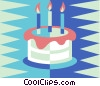 Vector Clipart graphic  of a birthday cake with candles
