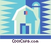 Vector Clipart picture  of a barn with silo