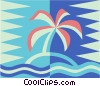Vector Clipart image  of a island and palm tree
