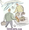 Vector Clip Art image  of a baggage handlers at the