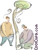 tree, painter Vector Clip Art graphic