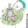 Vector Clip Art picture  of a man spraying the lawn with