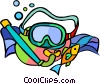 Vector Clip Art graphic  of a Snorkeling equipment and fish