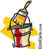 Vector Clipart picture  of a paint can and brush