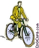 Man riding old fashioned bicycle Vector Clipart illustration