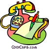 Vector Clipart graphic  of a telephone with notepad