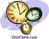 Vector Clip Art graphic  of a pocket watches and clocks