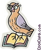 Vector Clip Art graphic  of a bird with glasses