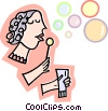 Girl blowing bubbles Vector Clip Art image