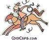 cowboy on a horse Vector Clip Art graphic