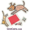 Vector Clip Art graphic  of a dog chasing a cat, chasing a mouse