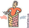 Vector Clipart graphic  of a chimney sweep
