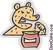 bear eating honey from the pot Vector Clip Art picture
