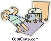 strongman pulling a car and trailer Vector Clipart image