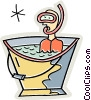 Snorkeler in a bucket of water Vector Clip Art picture