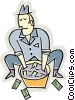 Vector Clipart illustration  of a gangster laundering money