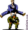 Vector Clip Art image  of a businessmen playing leap frog
