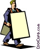 businessman with sandwich board Vector Clipart graphic