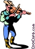 cowboy playing the fiddle Vector Clipart illustration