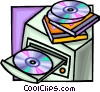 Vector Clip Art graphic  of a computer with a CD rom drive