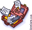 briefcase with papers in it Vector Clipart picture