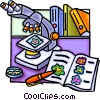 Vector Clip Art image  of a Microscope with books