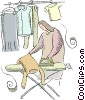 woman ironing clothes Vector Clipart picture