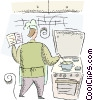 cooking on the stove Vector Clipart graphic