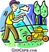 Vector Clipart image  of a cutting the lawn