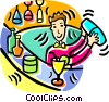 Vector Clipart graphic  of a bartender mixing drinks at a